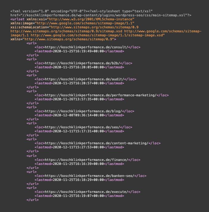 Auszug aus XML-Sitemap Beispiel - SEO-Guide