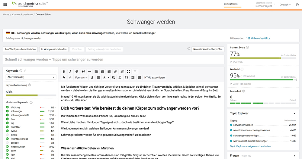 Searchmetrics- Content Experience Content Editor