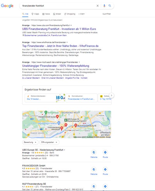 """Screenshot der SERP zu der Suchanfrage """"finanzberater frankfurt"""""""