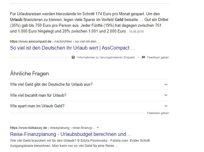 """Screenshot der organischen Suchergebnisse zu der Suchanfrage """"geld für urlaub"""""""