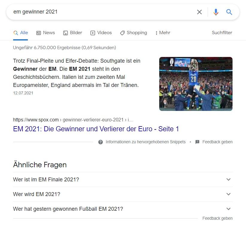 """Zu sehen sind die Suchergebnisse für die Suchanfrage """"em gewinner 2021"""""""